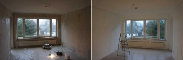 Wohnzimmer, vor und nach dem Streichen